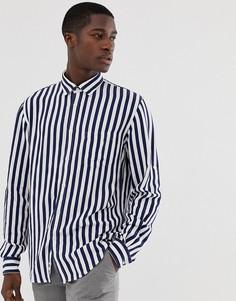 Узкая рубашка в синюю полоску с длинными рукавами Celio - Синий