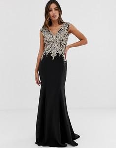 Платье макси с декорированным топом и облегающей юбкой Jovani - Черный