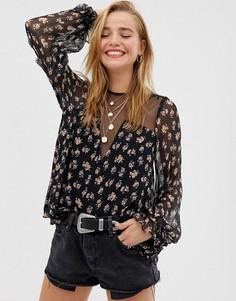 Блузка с цветочным принтом Stevie May - Harmony - Черный
