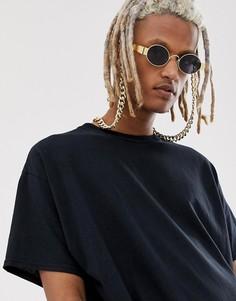 Овальные солнцезащитные очки в золотистой металлической оправе с дымчатыми стеклами и цепочкой ASOS DESIGN - Золотой