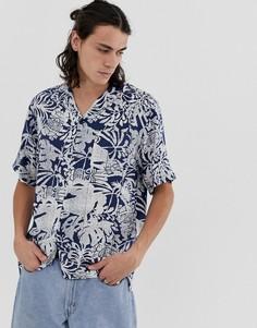 Синяя рубашка с короткими рукавами Carhartt WIP Tiki - Синий