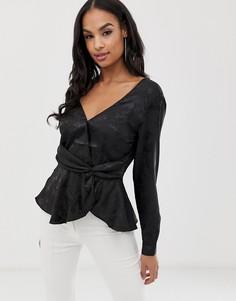 Жаккардовая блузка-блейзер Lipsy - Черный