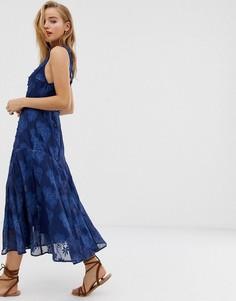 Платье миди с чернильным принтом пейсли и принтом пальм Stevie May - Синий