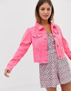 Укороченная джинсовая куртка неоновой расцветки Brave Soul - fitz - Розовый