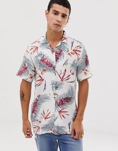 Рубашка с короткими рукавами, отложным воротником и цветочным принтом Le Breve - Белый