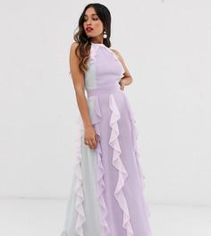 Платье макси с лямкой через шею и каскадной юбкой True Decadence Petite - Мульти