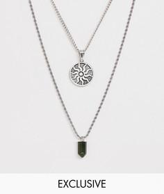 Ярусное ожерелье с подвеской и камнем Reclaimed Vintage Inspired эксклюзивно для ASOS - Серебряный