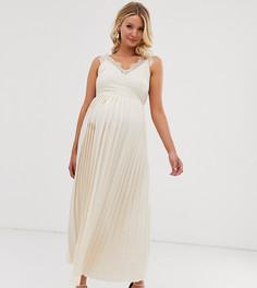 Кремовое платье с кружевным верхом Little Mistress Maternity - Кремовый