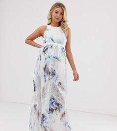 Плиссированное платье макси со сплошным цветочным принтом Little Mistress Maternity - Мульти