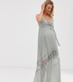 Платье макси с кружевной вставкой Little Mistress Maternity - Зеленый