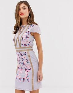 Свободное платье с вышивкой Frock & Frill - Фиолетовый