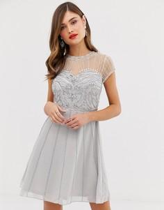 Короткое приталенное платье с короткими рукавами и отделкой Frock & Frill - Серый