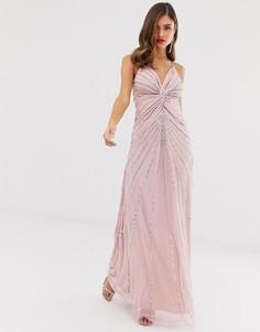 Платье макси на бретелях с пайетками Frock & Frill - Розовый