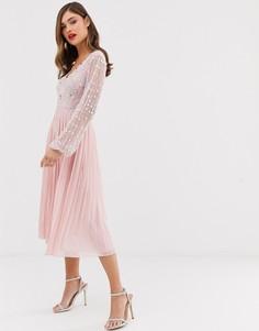 Плиссированное платье миди с длинными рукавами и отделкой на лифе Frock & Frill - Розовый