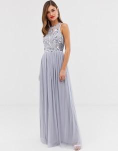 Платье макси с высоким воротом и атласным поясом Frock & Frill - Фиолетовый