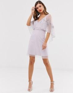 Короткое приталенное платье с рукавами-кейп и отделкой Frock & Frill - Фиолетовый
