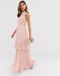 Многослойное платье макси с отделкой Frock & Frill - Розовый