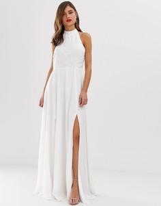 Платье макси с высоким воротником и декоративной отделкой Frock & Frill - Белый