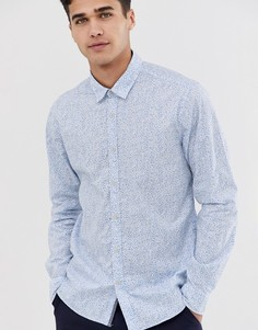 Строгая рубашка с цветочным принтом Esprit - Синий