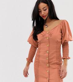 Платье мини на пуговицах с присборенной отделкой ASOS DESIGN Petite - Розовый