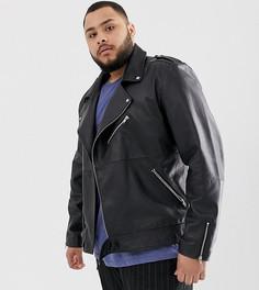 Черная кожаная байкерская куртка ASOS DESIGN Plus - Черный