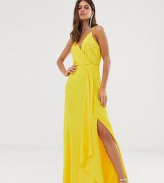 Желтое платье макси на бретельках с запахом и юбкой с годе TFNC - Желтый