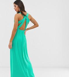 Зеленое плиссированное платье макси с отделкой на спине TFNC Tall - Зеленый