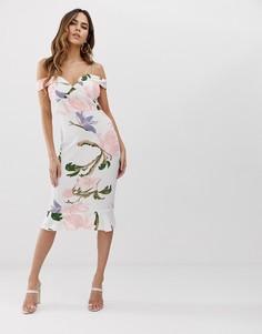 Платье миди на бретельках с оборкой AX Paris - Розовый