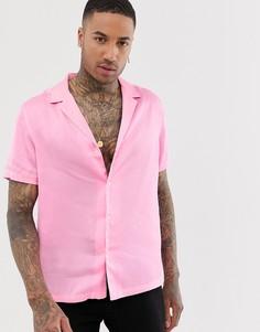 Розовая атласная oversize-рубашка с воротником в виде лацканов ASOS DESIGN - Розовый
