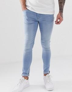 Голубые джинсы скинни с рваной отделкой Blend lunar - Синий