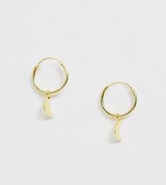 Серебряные серьги-кольца с подвесками в виде полумесяцев Kingsley Ryan - Exclusive - Золотой