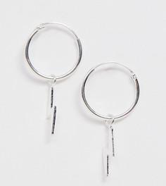 Серебряные серьги-кольца с подвеской-молнией эксклюзивно от Kingsley Ryan - Серебряный