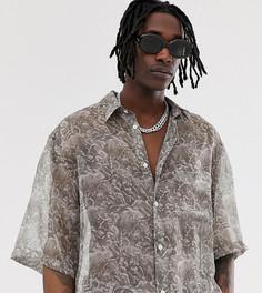 Серая прозрачная рубашка с принтом Heart & Dagger - Серый
