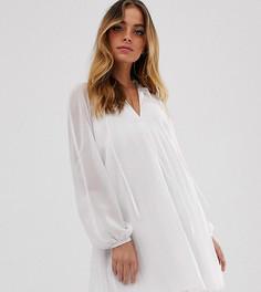 Плиссированное короткое платье-трапеция с завязкой на вороте ASOS DESIGN Petite - Белый