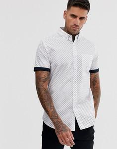 Белая рубашка с геометрическим принтом New Look - Темно-синий