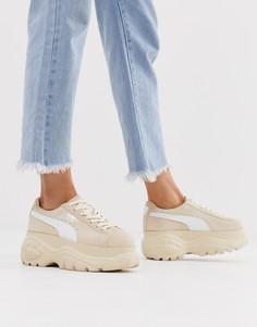 Кремовые замшевые кроссовки на платформе Puma X Buffalo - Кремовый