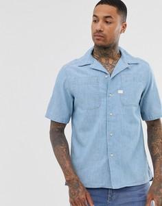 Голубая рубашка из органического хлопка с короткими рукавами G-Star Kinec - Синий