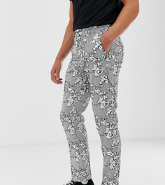 Фактурные узкие строгие брюки укороченного кроя с цветочным принтом Heart & Dagger - Черный