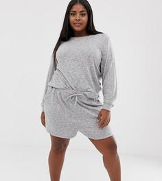 Очень мягкие комбинируемые шорты с начесом ASOS DESIGN Curve - Серый
