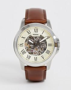 Автоматические часы с темно-коричневым кожаным ремешком Fossil - ME3099 Grant - Коричневый
