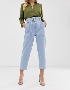 Светлые джинсы с присборенным поясом River Island - Синий