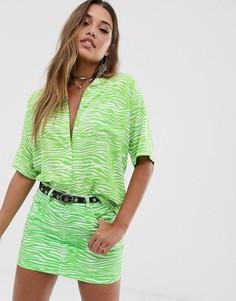 Гавайская рубашка с неоновым принтом зебра Motel - Зеленый