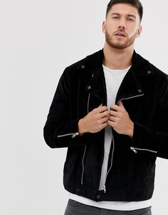Черная вельветовая байкерская куртка ASOS DESIGN - Серый