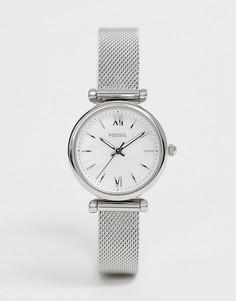 Серебристые часы с сетчатым ремешком Fossil ES4432 Carlie - Серебряный