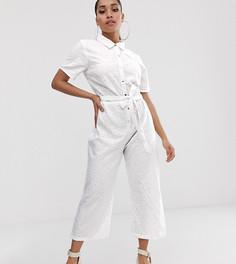Белый комбинезон-кюлоты с вышивкой ришелье Missguided Petite - Белый