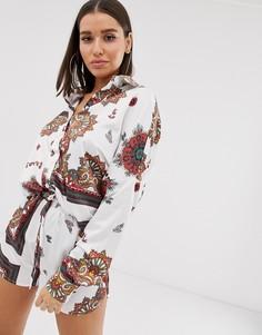 Белая атласная рубашка с платочным принтом пейсли Missguided - Мульти