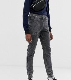 Черные мраморные джинсы-джоггеры узкого кроя ASOS DESIGN Tall - Черный