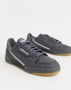 Серо-голубые кроссовки adidas Originals - continental 80 - Черный
