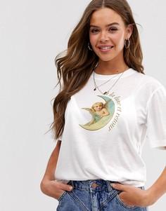 Свободная футболка с принтом с изображением луны Neon Rose - Белый