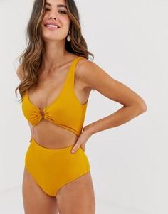 Желтый купальник в рубчик с вырезом Monki - Желтый